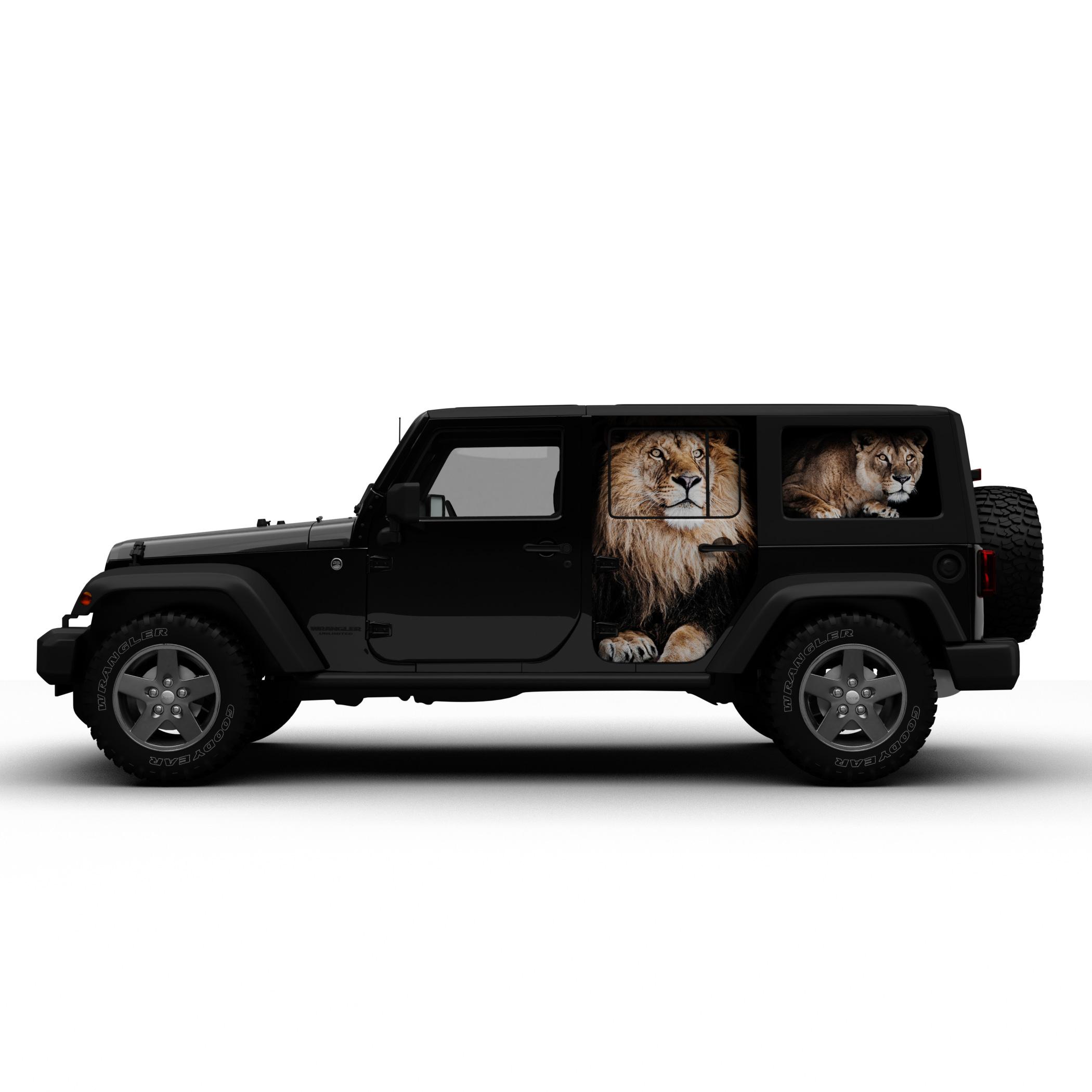 カーラッピング コンセプトデザイン Jeep Wrangler Unlimited Wrapped(Zoo Lion & Florist Rose)