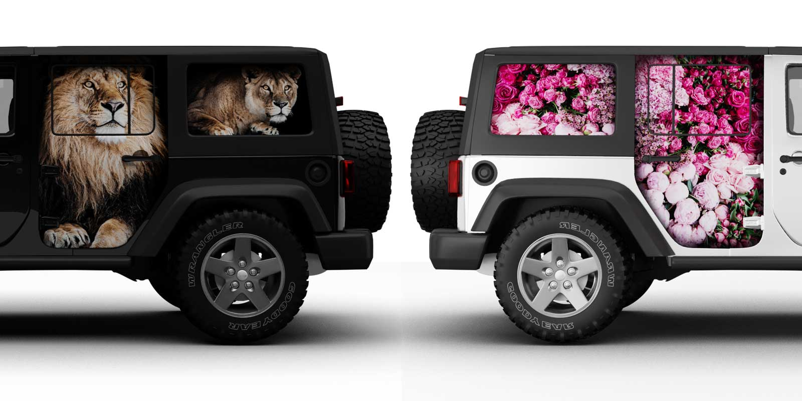 カーラッピング コンセプトデザイン Jeep Wrangler Unlimited Wrapped(Zoo Lion & Florist Rose)
